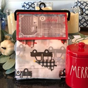 Holiday Truck buffalo plaid tree shower curtain